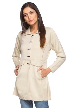 Womens Solid Long Coat