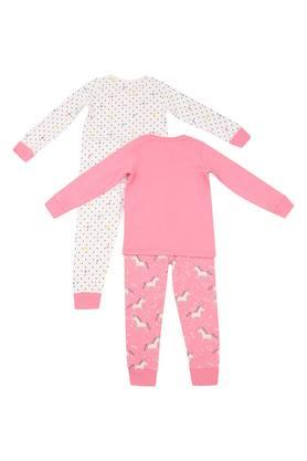 Girls Round Neck Printed Top and Pants Set - Pack of 2