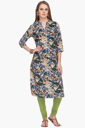 HAUTE CURRY Womens Mandarin Neck Printed Kurta - 201533225