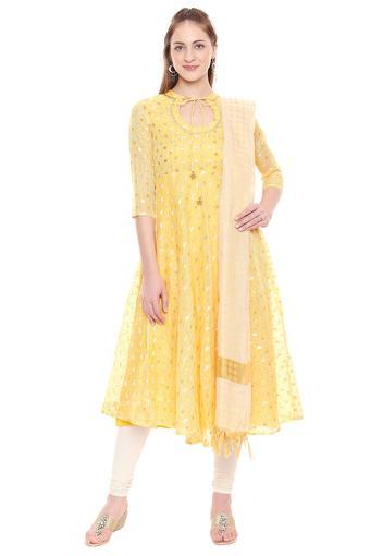 Womens Tie Up Neck Embellished Churidar Suit