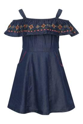 Girls Strappy Neck Rinse Wash Embroidered Flared Dress