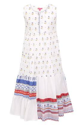 Girls Notched Collar Printed A-Line Dress