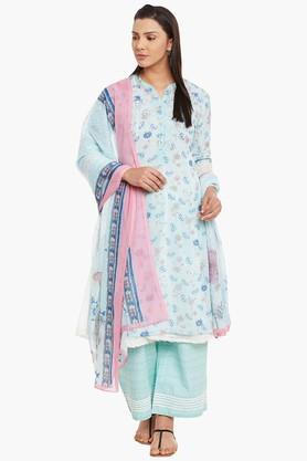 BIBA Womens Poly Cotton Straight Suit Set - 202179595