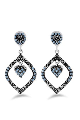 JAZZ Silver Leaf Inspired  Earrings With Blue Color Stones