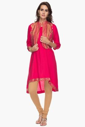 BIBA Womens Mandarin Neck High Low Kurta With Koti