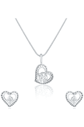 MAHI Rhodium Plated Stylized Heart Pendant Set Made With Swarovski Zirconia For Women NL1105019R