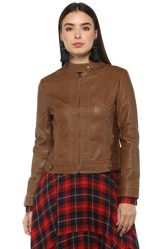 Womens Band Collar Solid Jacket