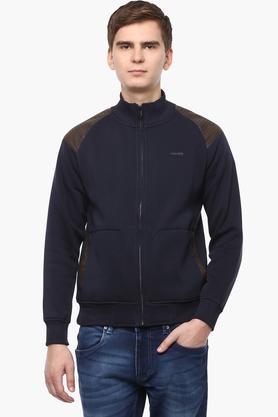 T-BASEMens Zip Through Neck Solid Sweatshirt - 201394616