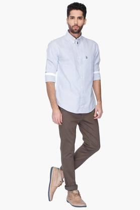 Mens Full Sleeves Slim Fit Casual Stripe Shirt