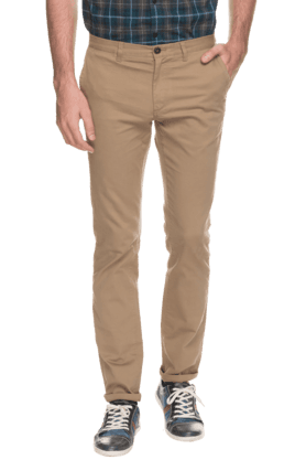 INDIAN TERRAIN Mens Slim Fit Solid Chinos - 200699384