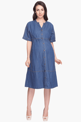 NINE MATERNITY Womens Comfort Fit Solid Shirt Dress