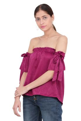 Womens Off Shoulder Slub Top