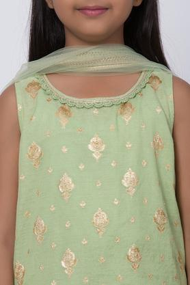 BIBA GIRLS - Green Salwar Kurta Set - 4