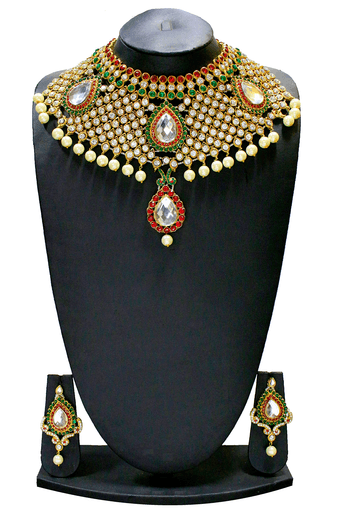 c9f3d02684 Buy ZAVERI PEARLS GRAND INDIAN JODHA AKBAR DULHAN NECKLACE SET BY -  ZPFK1293 | Shoppers Stop