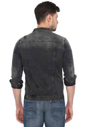 Mens Zip Through Neck Mild Wash Jacket