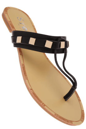 STOP Womens Black Flora Slipon Flat Sandal