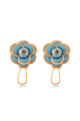 JAZZ Exclusive Blue Colour Gold Border Flower Shaped Brass Ear Stud