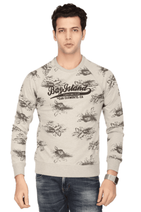 BAY ISLAND Mens Full Sleeves Round Neck Slim Fit Printed Sweatshirt