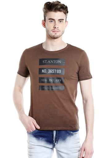 REX STRAUT JEANS -  Brown T-shirts - Main