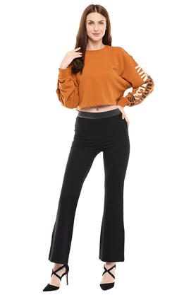 Womens Solid Flared Jeggings