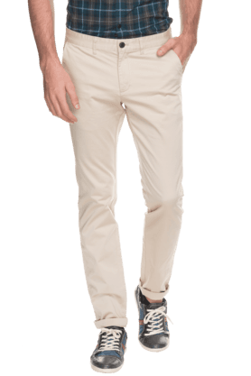 INDIAN TERRAIN Mens Slim Fit Solid Chinos - 200699382