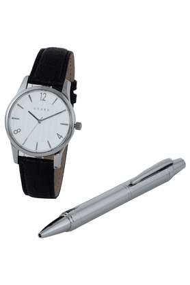 CROSSGift Set - Silver Pen And Leather Watch With White Dial - 8030-02