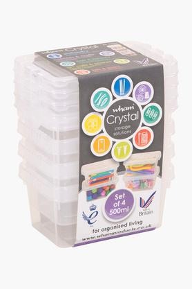 WHATMORE Storage Box With Lid Set Of 4 - 500ml