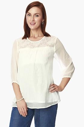 NINE MATERNITY Womens Round Neck Solid Sheer Yoke Top
