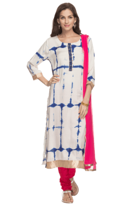 KASHISH Womens Tie-dye Churidaar Suit