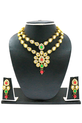 ZAVERI PEARLS TRADITIONAL KUNDAN NECKLACE SET BY - ZPFK1662