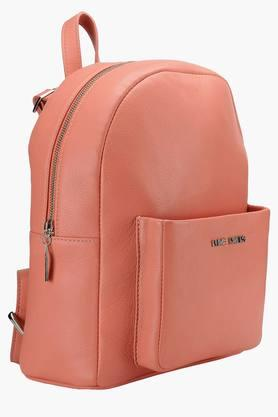 Womens Leather Zipper Closure Backpack