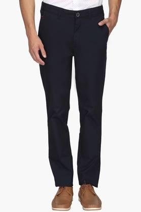 WILLS LIFESTYLE Mens Slim Fit 5 Pocket Solid Trousers