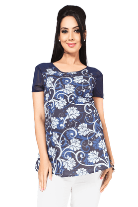 NINE MATERNITY Maternity Printed Blouse Highlighted With Chiffon