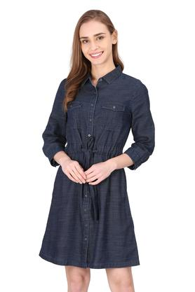 Womens 2 Pocket Washed Shirt Dress