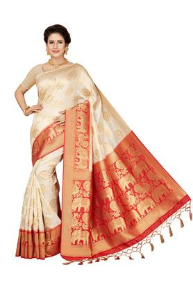 Womens Ethnic Motif Golden Zari Woven Saree with Blouse Piece