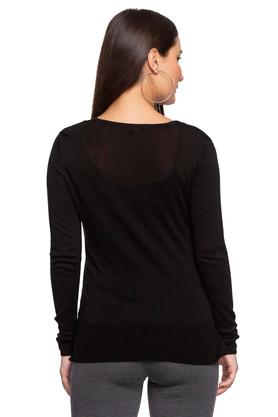 Womens V Neck Solid Sweater