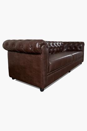 Warm Tan Leatherette Sofa (3 - Seater)