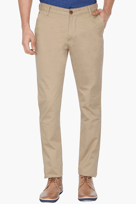 Mens Slim Fit Solid Casual Chinos