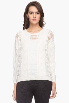 FRATINI WOMAN Womens Round Neck Lace Sweater