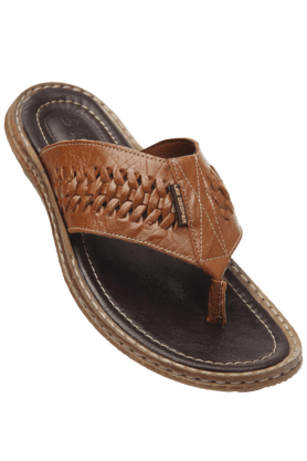 LEE COOPER Mens Brown Leather Slipon Slipper