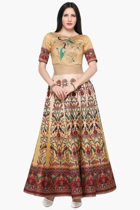 Womens Semi Stitched Printed Resham Embroidered Lehenga Choli
