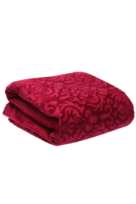 IVY Double Bed Cover - Embossed Velvet - Damask Pattern