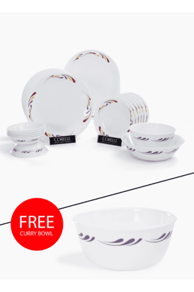 CORELLE India Impressions Celebration 21 Pcs Dinner Set With Free Curry Bowl