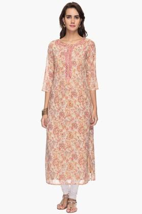 KASHISH Womens Round Neck Printed Embroidered Kurta