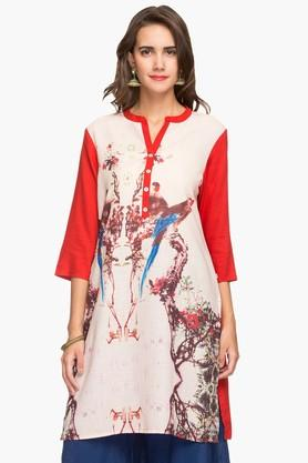 HAUTE CURRY Womens Mandarin Neck Printed Kurta - 202682645