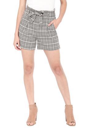 Womens 2 Pocket Checked Shorts