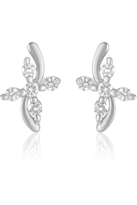 MAHI Mahi Rhodium Plated Endearing Rhodium Plated Curve Earrings With CZ For Women ER1109133R