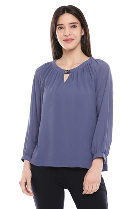 Womens Key Hole Neck Solid Tunic
