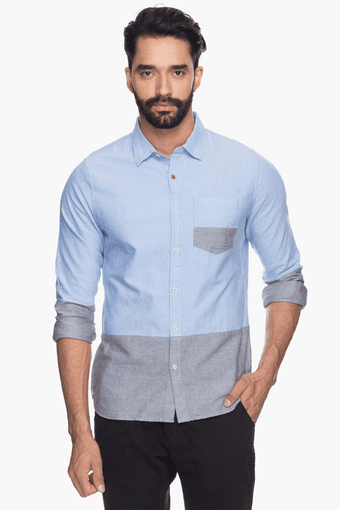 Mens Full Sleeves Slim Fit Casual Colour Block Shirt