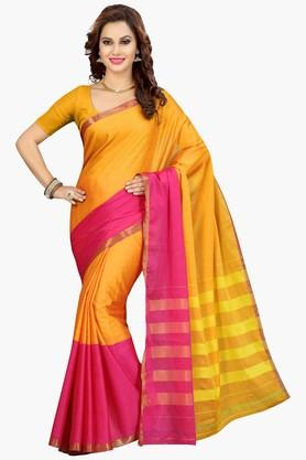 ISHIN Womens Colour Block Silk Saree